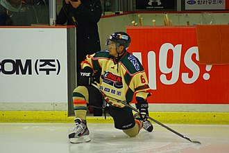 Nikkō Ice Bucks - Sumida Yousuke wearing the team's away jersey which was introduced in 2011