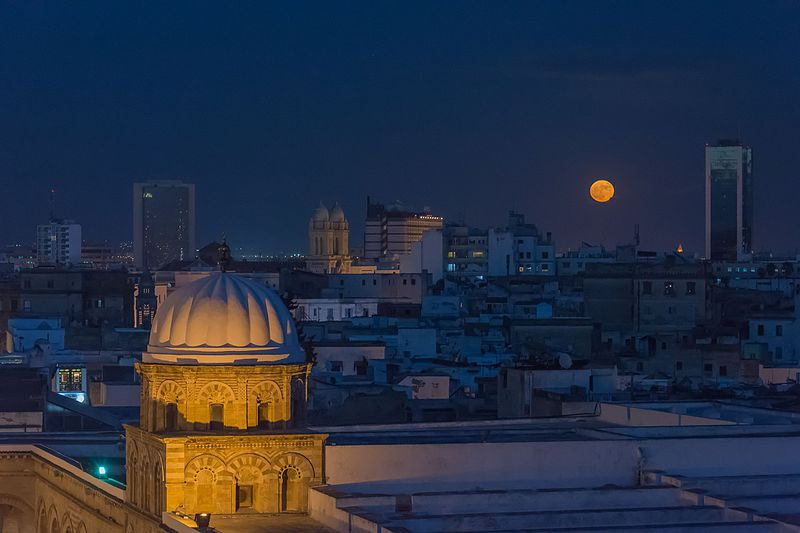 Super moon over Medina of Tunis