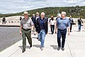 Superintendent Cam Sholly walks with Vice President Mike Pence and Secretary of the Interior David Bernhardt at Old Faithful (48063314306).jpg