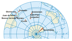Location of French Southern and Antarctic Lands