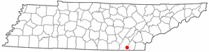 Ooltewah, Tennessee - Image: TN Map doton Ooltewah