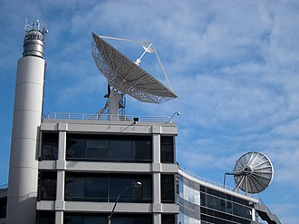 Television New Zealand - Satellite dish on roof of TVNZ Building, Hobson Street, Auckland CBD