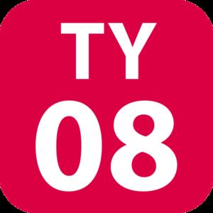 Den-en-chōfu Station - Image: TY 08 station number