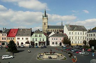 Tachov - Town square with the Church of the Assumption of the Virgin Mary in the background