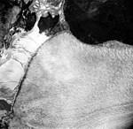 Taku Glacier, terminus of tidewater glacier and braided streams, August 22, 1965 (GLACIERS 6152).jpg