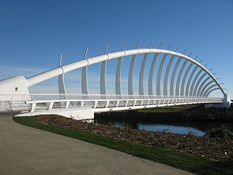 New Plymouth - Te Rewa Rewa Bridge which immediately became a symbol of the extensive cycling opportunities that have been created in and around New Plymouth.