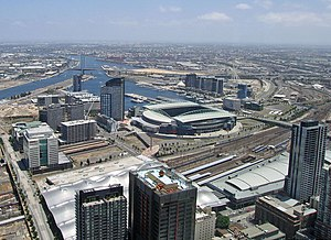 Docklands, Victoria - View toward Docklands from above the Melbourne CBD in 2008; from left to right - Batman's Hill and Southern Cross Station, Victoria Harbour, Stadium Precinct, New Quay, Waterfront City and Digital Harbour