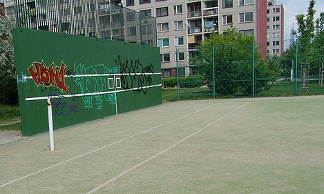 A tennis practice wall