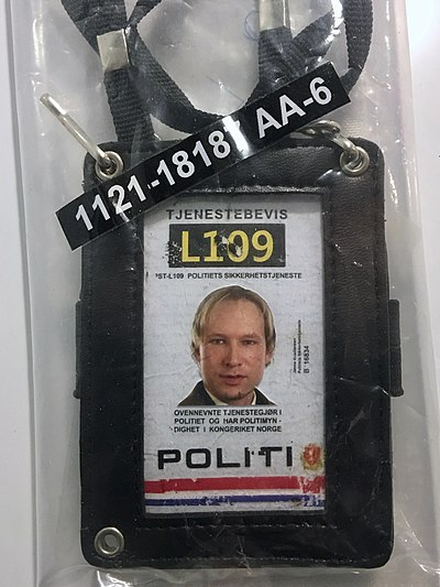 A forged police identification card used by a convicted terrorist. Terrorist Anders Behring Breivik's fake police ID as evidence item on display at 22. juli-senteret (22 July Information Center) in Regjeringskvartalet, Oslo, Norway. Photo 2018-09-14.jpg
