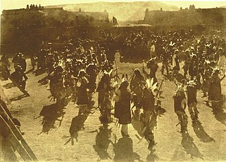 Buffalo dance - 1893 photo of a Buffalo Dance at San Ildefonso Pueblo, New Mexico in 1893 by Edwin Deming