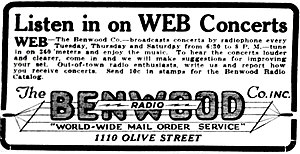 KZQZ - May 4, 1922 advertisement for The Benwood Company and its radio station, WEB.