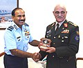 The Chairman Chiefs of Staff Committee (COSC) and Chief of the Air Staff, Air Chief Marshal Arup Raha presenting a memento to the Chief of General Staff, Afghan National Army, General Sher Mohammad Karimi, in New Delhi.jpg