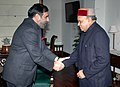 The Chief Minister of Himachal Pradesh, Shri Prem Kumar Dhumal meeting the Union Minister of Commerce and Industry, Shri Anand Sharma in New Delhi on January 04, 2010.jpg