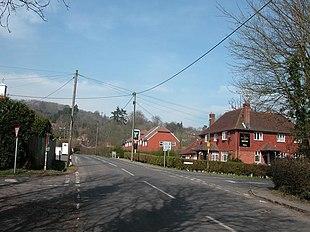 Steep village centre during winter