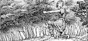 "Rígsþula - ""The Crow warns Konr"" (1908) by W. G. Collingwood"