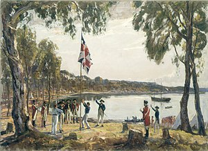 Sydney Cove - The Founding of Australia by Captain Arthur Phillip RN Sydney Cove January 26th 1788, a 1939 oil painting by Algernon Talmage