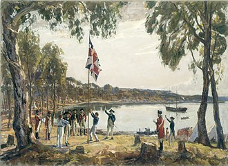 Sydney - The Founding of Australia, 26 January 1788, by Captain Arthur Phillip R.N., Sydney Cove. Painting by Algernon Talmage.
