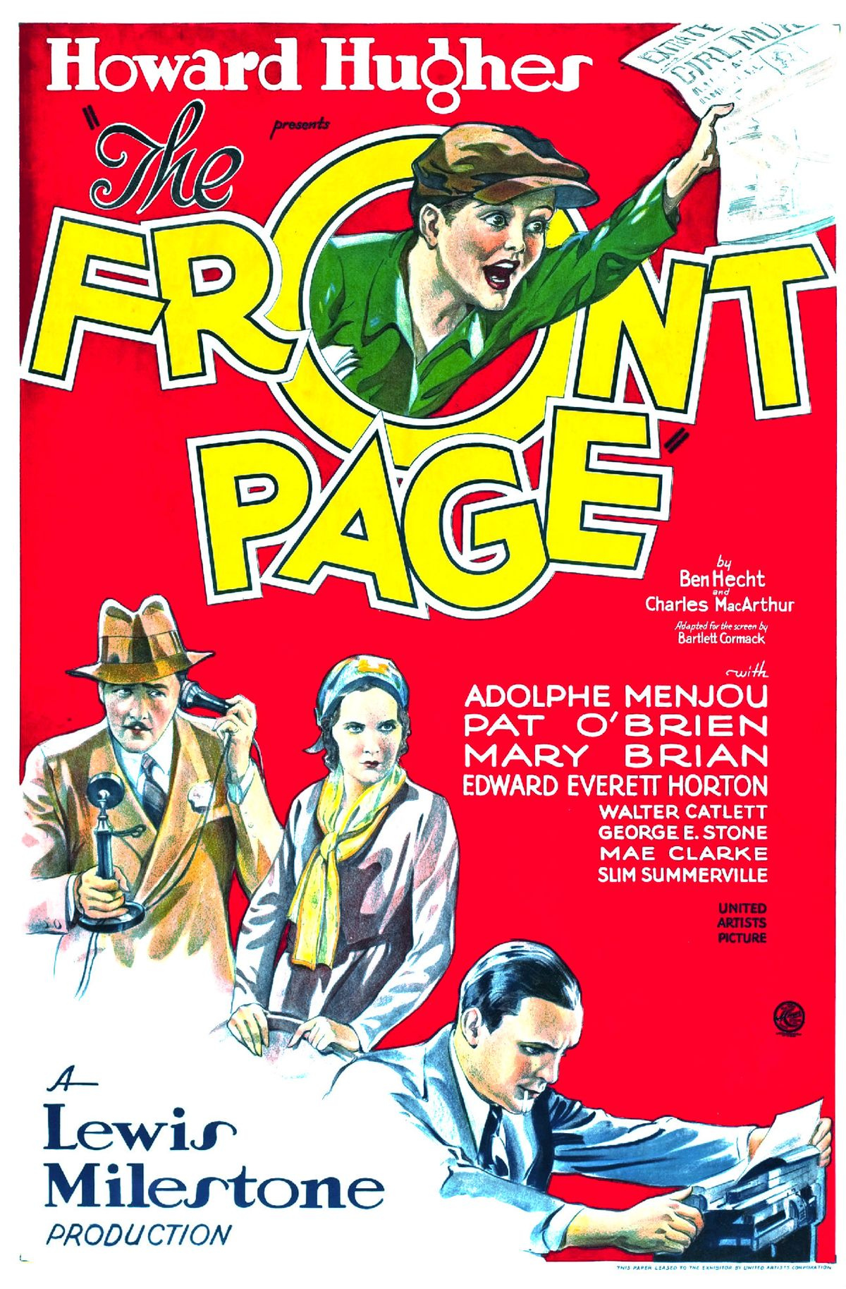 Image result for the front page movie poster 1931