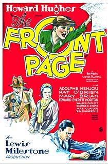 <i>The Front Page</i> (1931 film) 1931 American comedy film