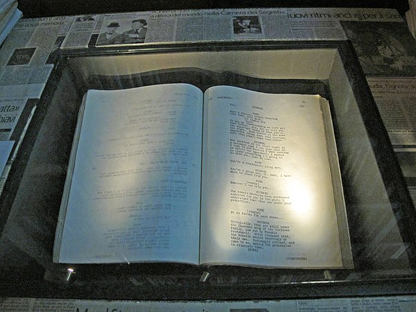 Original screenplay in the National Museum of the Cinema in Turin The Godfather Screenplay.JPG
