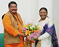 The Governor of Jharkhand, Smt. Draupadi Murmu meeting the Union Minister for Tribal Affairs, Shri Jual Oram, in New Delhi on December 27, 2016.jpg