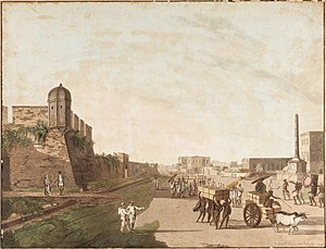 Port of Kolkata - The Old Fort, the Playhouse, Holwell's Monument from Views of Calcutta