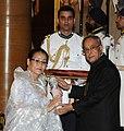 The President, Shri Pranab Mukherjee presenting the Padma Shri Award to Smt. Elam Indira Devi, at a Civil Investiture Ceremony, at Rashtrapati Bhavan, in New Delhi on March 31, 2014.jpg