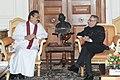 The President of the Democratic Socialist Republic of Sri Lanka, Mr. Mahinda Rajapaksa meeting the President, Shri Pranab Mukherjee, at Rashtrapati Bhavan, in New Delhi on May 27, 2014.jpg