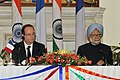 The Prime Minister, Dr. Manmohan Singh and the President of the Republic of France, Mr. Francois Hollande, at the Joint Press Statement, in New Delhi on February 14, 2013.jpg
