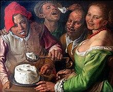 Vincenzo Campi, I mangiatori di ricotta (olio su tela, 1580, Museo di belle arti di Lione)
