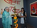 The Union Minister for Culture, Smt. Chandresh Kumari Katoch lighting the lamp to inaugurate the exhibition 'Rama-Katha – The story of Rama through Indian Miniatures', in New Delhi on August 14, 2013.jpg