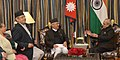 The delegation led by the Chairman of the CPN-UML and the former Prime Minister of Nepal, Shri K.P. Sharma Oli calling on the President, Shri Pranab Mukherjee, at Kathmandu, in Nepal on November 03, 2016.jpg