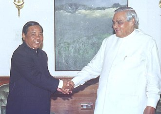 P. A. Sangma - Sangma (left) meeting then Prime Minister Atal Bihari Vajpayee in 2004