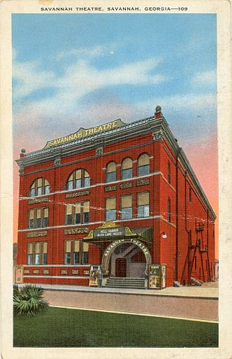The Savannah Theatre - The image here is the 1906 remodel which resulted in a new brick facade, with cast terra cotta panels. Many of the windows were filled in