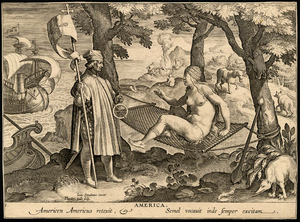 Theodoor Galle - America engraving by Theodor Galle after Stradanus, ca 1630.