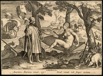 Theodoor Galle - America engraving by Theodor Galle after Stradanus, ca 1630.