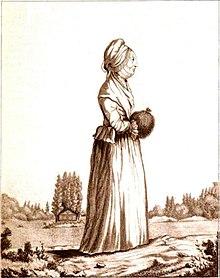 Thérèse Levasseur, Witwe Rousseaus, vor der Pappelinsel. Nach einer Sepiazeichnung von Caroline Naudet (Quelle: Wikimedia)