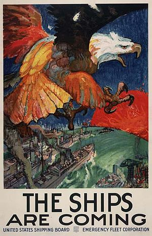 United States Shipping Board Merchant Fleet Corporation - A World War I poster for the US Shipping Board, ca. 1917–18.