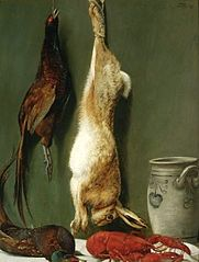 Still life with a hare, pheasants and a lobster.