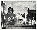 "Thomas ""Satch"" Sander, Boston Celtics basketball star, and Mayor John F. Collins discuss the Boston Youth Activities Bureau's summer basketball program (12774212625).jpg"