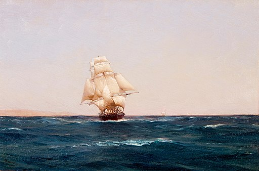 Thomas Somerscales - A square rigger off Terrapaca, Chile (1895)