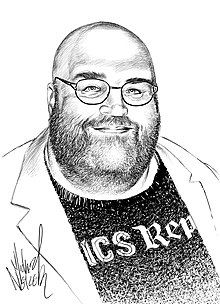 A black-and-white drawing of Spurgeon smiling