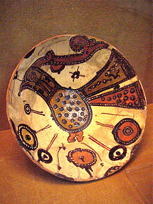 Nishapur - Bowl painted on slip under transparent glaze (polychrome), Nishabur, 9th or 10th century. National Museum of Iran, Tehran.