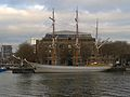 Three-masted barque Kaskelot of Bristol (1948) & Arnolfini building, City Docks, Bristol 10.12.2013 002 (11339881104).jpg