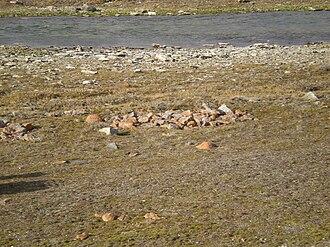 Hoarding - A Thule culture food cache near Cambridge Bay, Nunavut Canada