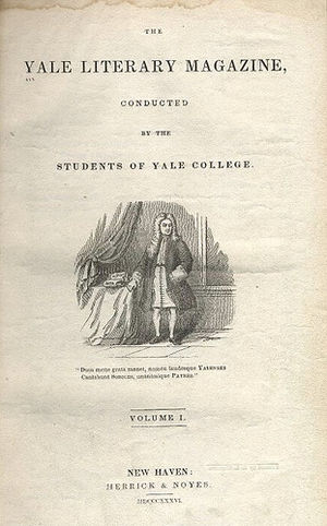 Yale Literary Magazine - Image: Title page first volume Yale Literary Magazine 1836