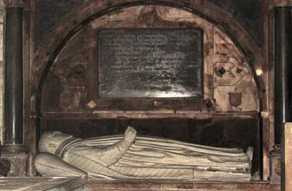Shakespeare apocrypha - The tomb of John Combe in Holy Trinity church, Stratford-upon-Avon
