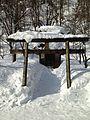 Torii of Hatogaya Hachiman Shrine in Gassho-zukuri Minkaen Garden 20150121-1.jpg