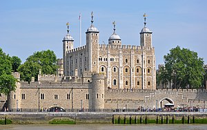 "Tower of London - The Tower of London, seen from the River Thames, with a view of the water-gate called ""Traitors' Gate"""