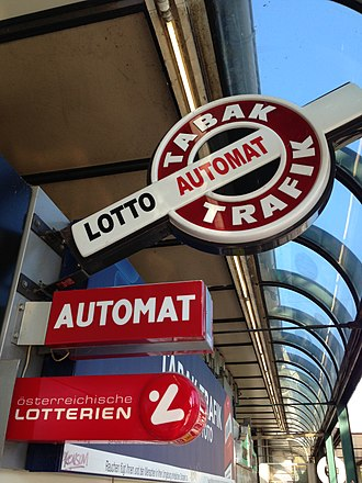 Tobacconist - Modern-day tobacco shop sign (Tabaktrafik) in Vienna, Austria.